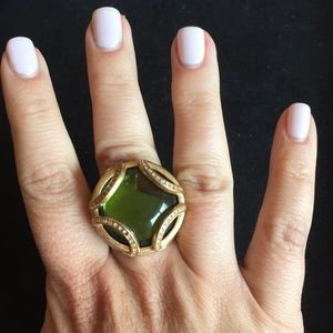Lia Sophia gold and green cocktail ring